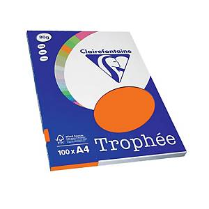 Resma de 100 folhas de papel Trophée - A4 - 80 g/m² - laranja flúor