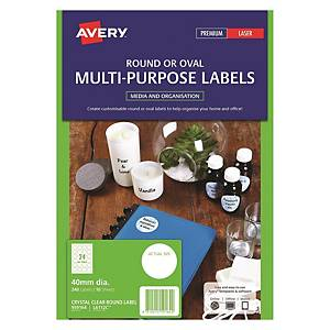 Avery 艾利 L6112C/ 959164 透明圓形標籤 40毫米 每張24個標籤