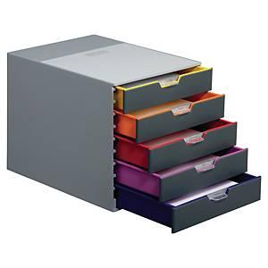 Module de classement Durable Varicolor - 5 tiroirs - coloris assortis