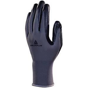 Deltaplus VE722 Foam Nitrile Palm Gloves Grey/Black Size 7 (Pair)