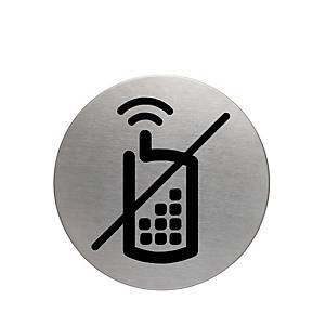 Durable Steel  NO MOBILE PHONES  Pictogram Sign 83mm