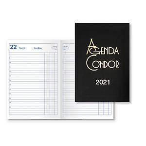 Agenda de escritório CONDOR día página, 140 x 210 mm. Cor preto