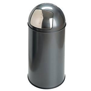Poubelle avec couvercle poussoir, métal, 40 l, gris