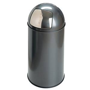 Push vuilnisbak met pushdeksel, metaal, 40 l, grijs