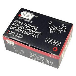 SDI หมุดลิ้นแฟ้ม 0771 1 นิ้ว สีเงิน แพ็ค 100 ชิ้น