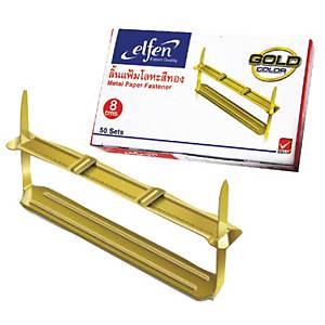 ELFEN ลิ้นแฟ้มโลหะ สีทอง แพ็ค 50 ชุด