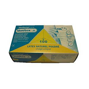 DELTAPLUS VENITACTYL V1310 latex disposable gloves, size 8, 100 pcs