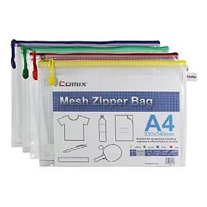 COMIX A1154 Document Zipper Bag A4 Assorted Colours