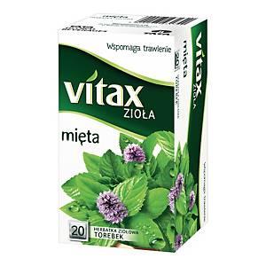 Herbata ziołowa VITAX mięta, 20 kwadratowych torebek bez zawieszki