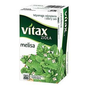 Herbata ziołowa VITAX melisa, 20 kwadratowych torebek bez zawieszki