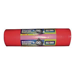 Worki na śmieci LDPE sanitarne, 120 l, czerwone, 25 sztuk