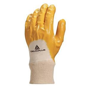 Guanti protezione meccanica Deltaplus NI015 in nitrile giallo tg 9