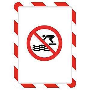 TARIFOLD FRAME MAGNETO SAFETY SIGN FRAME BACK A4 RED/WHITE PACK OF 2