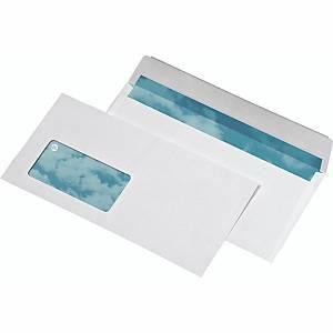 Briefumschläge DIN lang, mit Fenster, Haftklebung, 80g, Recycling, weiß, 500 St