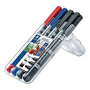 Marker permanentny STAEDTLER Lumocolor Duo, dwie końcówki, etui 4 kolorów
