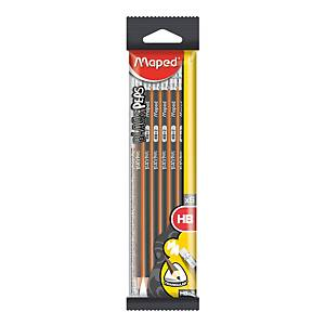 Maped Black Peps Bleistift HB, dreikantig, Packung mit 6 Stück