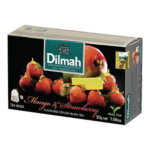 Herbata czarna aromatyzowana DILMAH mango i truskawka, 20 torebek