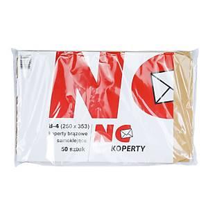 Koperty samoklejące aktowe B4 NC KOPERTY, brązowe, 50 sztuk