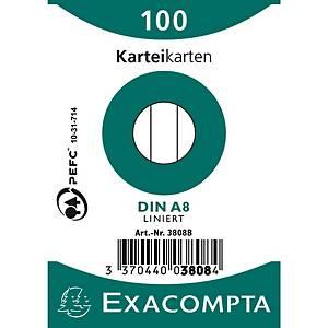 Cartes-fiches Exacompta A8 lignées blanc, emb. de 100 pces.