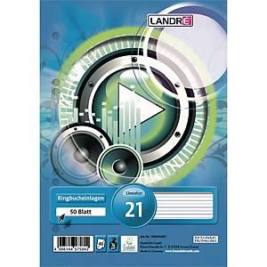 Ringbucheinlagen Landre 100050495, A5, liniert, 50 Blatt