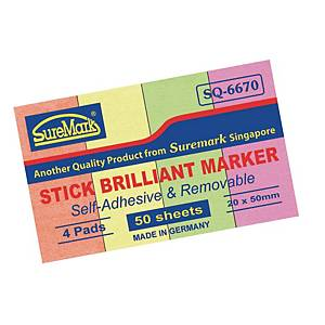 Suremark Paper Stick Brilliant Marker  20 X 50mm - 50 Sheets X 4 Colours