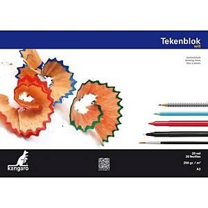 Bloc de dessin Kangaro, A3, 200 g, 20 feuilles de papier à dessin blanc