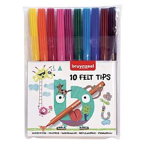 Bruynzeel feutre couleurs assorties - le paquet de 10