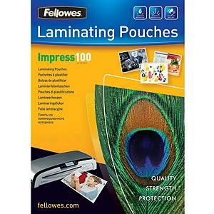 Fellowes laminointitasku A4 2x100mic kirkas, 1 kpl=100 taskua
