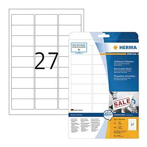 HERMA 4347 多次黏貼標籤 63.5x29.6毫米 每張27個標籤