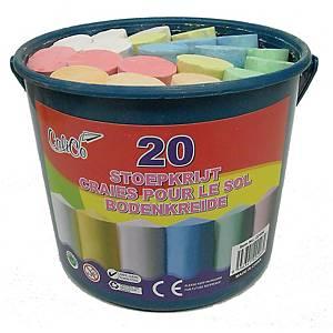 Craies de trottoir couleurs assorties - le godet de 20