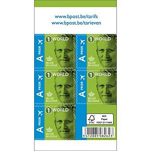 Zelfklevende postzegel België, internationaal 1, tot 50 g, per 50 zegels op vel