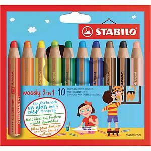 STABILO® woody 3 in 1 viacúčelové pastelky, 10 farieb