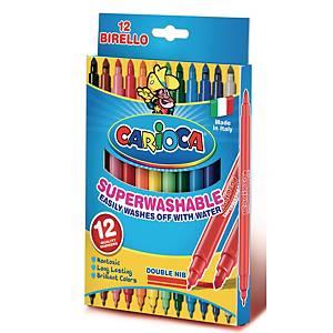 Carioca Birello dubbelpunters viltstiften, assorti kleuren, pak van 12 stiften