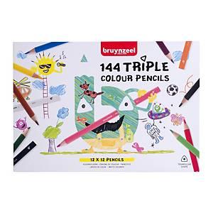 Bruynzeel® TripleGrip® kleurpotloden, klaspak van 144 potloden