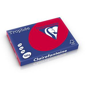 Papier A3 coloré Clairefontaine Trophée 1378, 120 g, rouge cerise, 250 feuilles