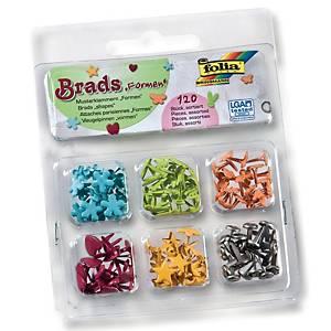 Splitpennen, verschillende vormen, assorti kleuren, doos van 120 stuks