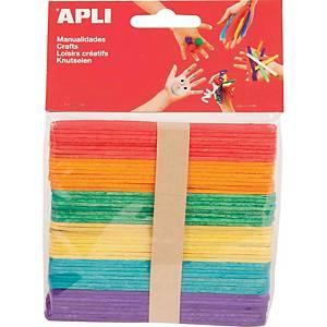 Pack de 50 palos de polo madera Apli - surtido