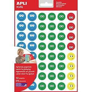 Pack de 576 autocolantes mr smiley APLI cores sortidas