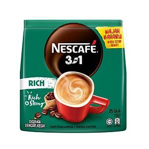 Nescafe Coffee 3 in 1 Blend & Brew Coffee Rich - Pack of 25
