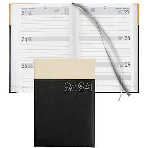 Agenda Biella Dispo Term 808546, 1 semaine sur 2 pages, similicuir, noir