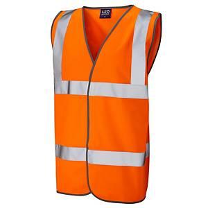 High Visibility Sleeveless 2 Band Waistcoat Orange Small