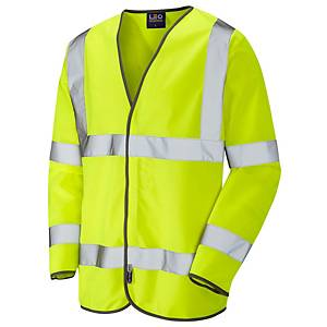 Long Sleeved High Visibility Waistcoat Yellow  Large