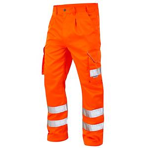 High Visibility Poly Cotton Cargo Trousers Orange 34R