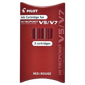 Pilot Hi-Tecpoint Cartridge system navullingen, fijn, rood, per 3 navullingen