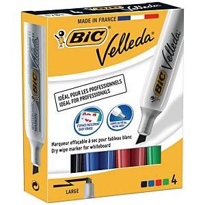 Bic® Velleda 1781 whiteboard marker, beitelpunt, assorti kleuren, per 4 stuks