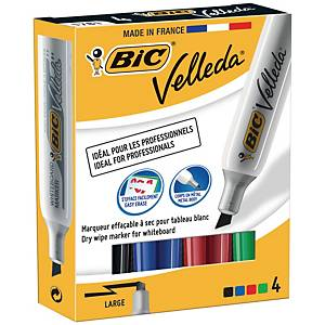 Bic Velleda 1781 non-permanent marker chisel tip assorted colours - box of 4