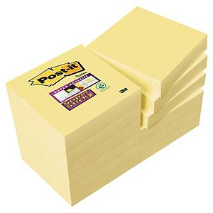 Notes Post-it Super Sticky - 47,6 x 47,6 mm - jaunes - 12 blocs x 90 feuilles