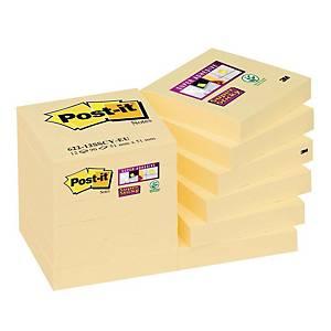 Karteczki samoprzylepne Post-it® Super Sticky, Żółte, 48x48mm, 12x90k