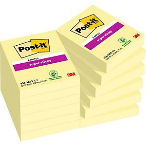 Pack 12 blocos 90 notas adesivas Post-it Super Sticky - amarelo