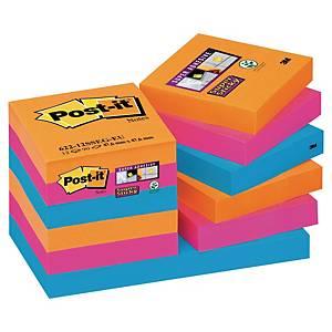 Notes Post-it® Super Sticky 622-SSEG 47,6x47,6mm, couleurs Bangkok, paquet de 12